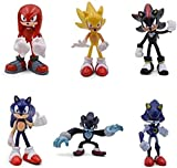 XVPEEN Modelo Dibujos Animados Cute Sonic Knuckles Tails 6 Pcs/Set Figures Statue 2St Generation Boo...