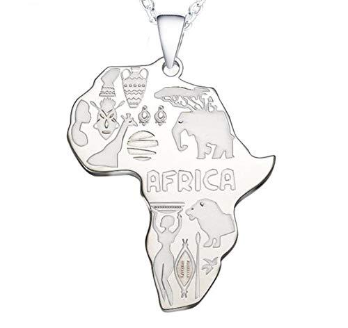 sufengshop Afrika Kaart Hanger Ketting voor Vrouwen Mannen Ethiopische Sieraden