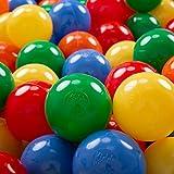 KiddyMoon 200/6Cm ∅ Balles Colorées Plastique pour Piscine Enfant Bébé Fabriqué en EU, Jaune/Vert/Bleu/Rouge/Orange