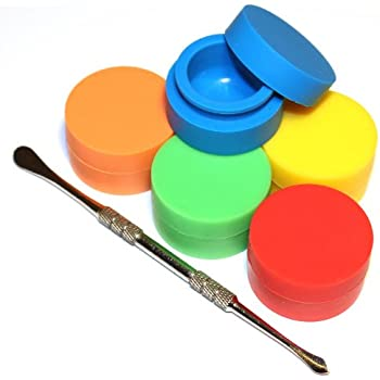Silicone Container TitanOwl 5 x Non-Stick Storage Silicone Container Carving Tool, Jar Matte Outside & Shiny Round Inside Food Grade Non Stick Heat Resistant - 5 Pack (5 Colors)