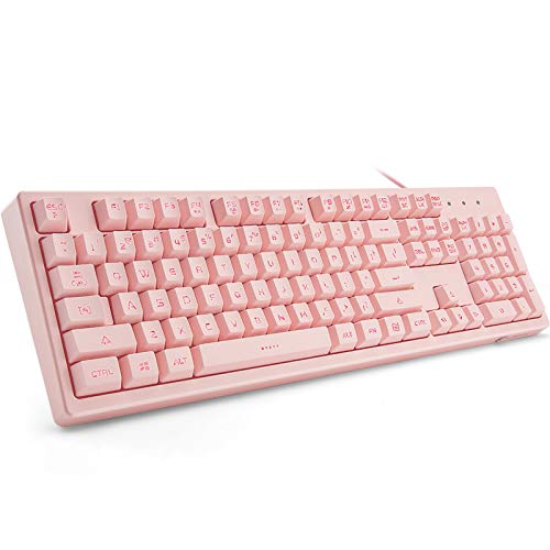 Basaltech Pink Keyboard with 7-Color LED Backlit, 104 Keys Quiet Silent Light Up Keyboard, 19-Key Anti-Ghosting Cheap Gaming Keyboard Mechanical Feeling Waterproof Wired USB for Computer, Mac, Laptop