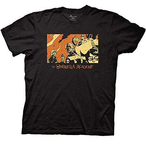 Ripple Junction Umbrella Academy Comic Book Adult Unisex Issue 1 Cover Light Weight 100% Cotton Crew T-Shirt Large Black