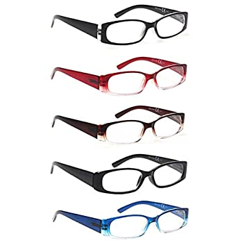 5 Pack Spring Hinge Reading Glasses Rectangular Fashion Quality Readers for Men and Women  5 Pack Mix 2.5