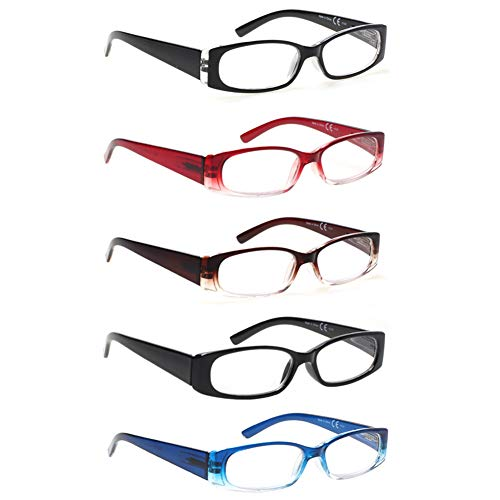 5 Pack Spring Hinge Reading Glasses Rectangular Fashion Quality Readers for Men and Women (5 Pack Mix, 2.25)