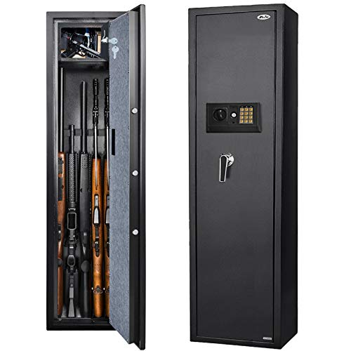 Moutec Large Rifle Safe, Long Gun Safe for Rifle Shotgun for Home, Quick Access 5-Gun Storage Cabinet (with/Without Scope) with Handgun Lockbox Slient Mode