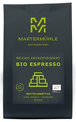 Martermühle | Bio Espresso Mexiko entkoffeiniert (1kg) | Premium Espressobohnen aus Mexiko | Schonend geröstet | Espresso säurearm | 100% Arabica