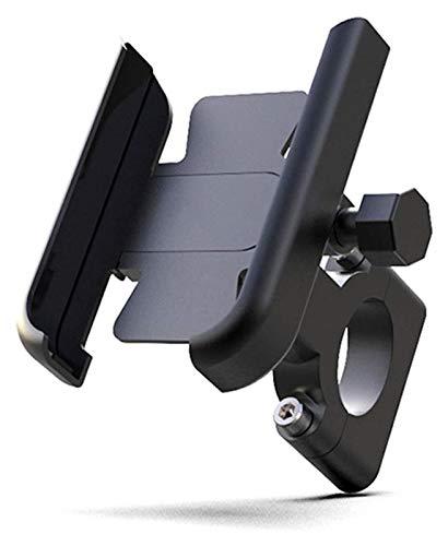 TTW Soporte De Teléfono Móvil De La Motocicleta Motocicleta De Aluminio Motocicleta Bicicleta Titular De La Bicicleta para 4-7 Pulgadas Smartphone Moderbar Mount Motorbike Accesorios (Color : Black)