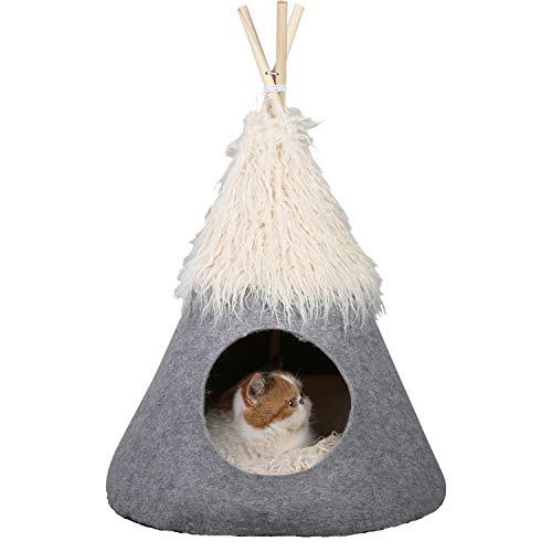 PetnPurr Tienda de campaña para mascotas con cojín supermullido autocalentamiento, cueva privada para gatos, cama pequeña para perro...