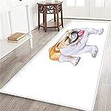 PATINISA Alfombrillas Interior Moquetas Larga,Acuarela Primer Plano Retrato de Bulldog inglés Blanco y Rojo Perro de Raza británica,Alfombra de Pasillo de Pelo Corto Suave