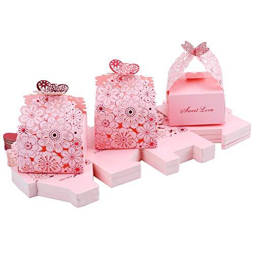 TsunNee, scatole di carta traforata, motivo floreale con farfalle, ideali per caramelle, bomboniere di nozze e regali, rosa, 7x6.5x4cm