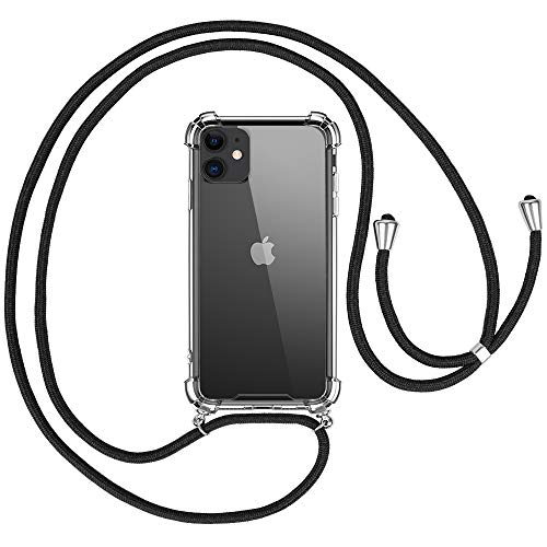 opamoo Funda con Cuerda para iPhone 11, Carcasa Transparente TPU Suave Silicona Case con Correa Colgante iPhone 11 Funda Colgante movil con Cuerda Ajustable Anti Golpes Case con Cuerda para iPhone 11