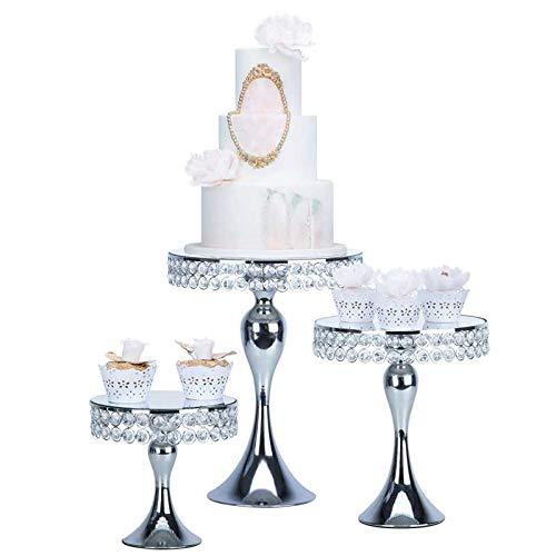 Présentoir à gâteaux rond en métal or/argenté orné de perles de verre et détails pendants, Silver, Taille M