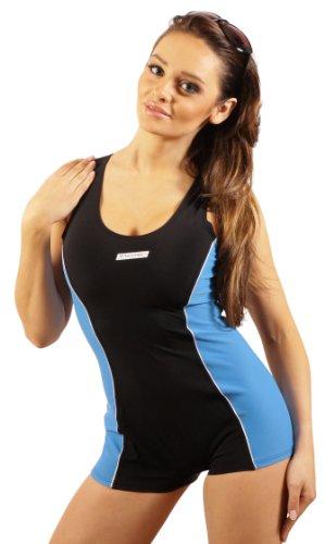 STANTEKS Damen Badeanzug mit Bein Schwimmanzug Hotpants mit Schwimmerrücken SK0028 (36, schwarz-blau)
