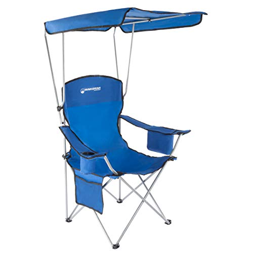 Wakeman Outdoors Camp Chair with Canopy-300lb. Capacity Sunshade Quad Seat with Cup Holder, Cooler, Carry Bag-Tailgating, Camping, Fishing (Blue)