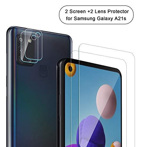 NEWZEROL 2+2 Stücke Display und Kameraschutz für Samsung Galaxy A21s Panzerglas Curved Edge 2.5D Lichtbogenkanten Anti Scratch 9 Härte High-Definition Displayschutzfolie aus Gehärtetem Glas