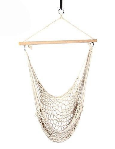 Ppy778 Baumwollnetz-Hängematte, Schaukelstuhl für Schaukeln im Freien, Weiß, 130 * 90 cm