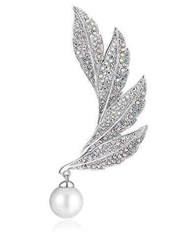 irresistible1 Brosche mit Federn, Swarovski-Kristalle, silberfarben, mit weißer Perle, 8,9 x 2,1 cm