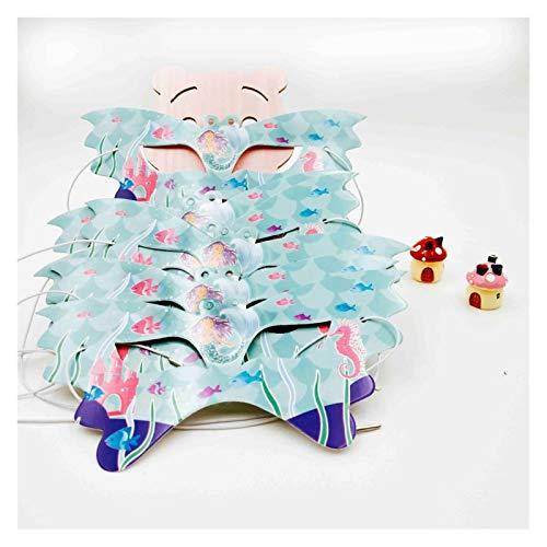 Jjwlkeji Vajilla De Fiesta 10 niños Little Sirena Vajilla Fiesta de cumpleaños Festival Decoración Evento Favor Género Revela niñas (Color : 6pc Mask)