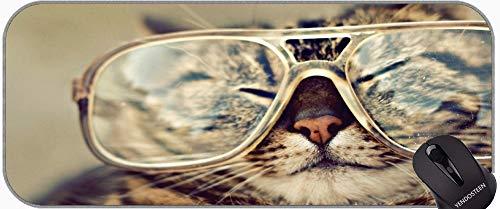 Alfombrilla de ratón extendida XXL, Gafas Cat Mouse Pad con Bordes cosidos