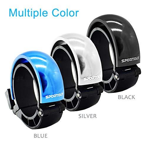 Sportout Aluminiumlegierung Innovative Fahrradklingel Fahrrad Ring mit Lauten Klaren Klaren Kla, für Lenker von 22,2 bis 31,8 mm(Black) - 2