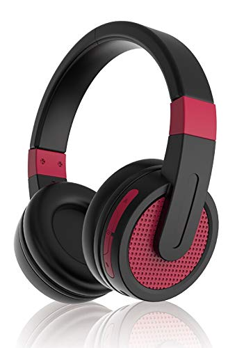 Sylvania SBT214- Bluetooth Stereo Headphones (Red)