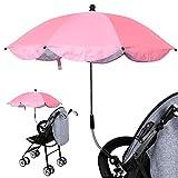 Luzoeo Sombrilla Universal Carrito de Bebé Paraguas Sombrilla Parasol para Cochecito Silla de Paseo 360 Grados Ajustable con UV Protección el Bebés y Niños