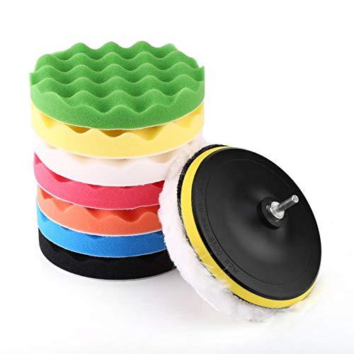 Almohadilla para pulir, almohadillas para pulir para coche, 10 piezas de 7', kit de almohadilla para pulir y encerar, herramienta para pulidora de coche, tampón con adaptador de taladro