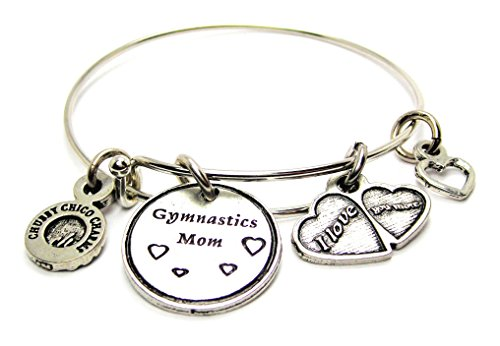Gymnastics Mom Single Expandable Bangle Bracelet, Fits up to 8 Inches, Chubby Chico Charms Exclusive