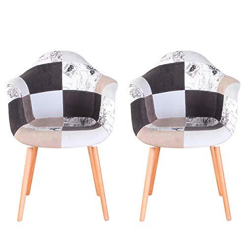 N A to MUEBLES HOME, set di 2 sedie da pranzo moderne in tessuto di lino, poltrone da cucina e bancone, per il tempo libero, ricevimento, soggiorno