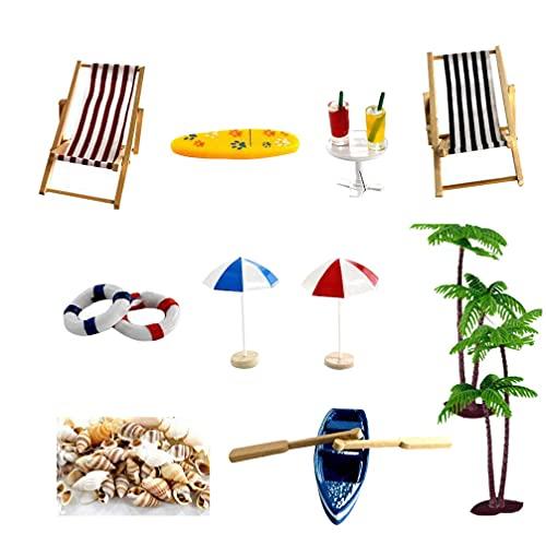Cabilock Accesorios de Playa Miniatura Casa de Muñecas Playa Set Pastel Toppers Muebles de Casa de Muñecas Accesorios para DIY Jardín de Hadas Micro Paisaje Suministros