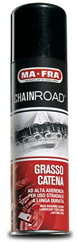 Mafra, Chainroad, Grasso per Catena Moto Spray, Lubrificante Concentrato, Previene la Formazione di Ruggine, non Macchia e non Cola, nel Formato da 250ml