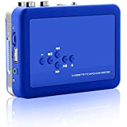 OfficeLead Cassette Player Tape to MP3 Converter Retro Walkman Auto Reverse Portable Audio Tape Player with Earphones, No Need Computer(Blue)