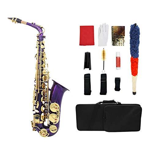 LVSSY-Alto Saxophones Kit Cuerpo de Latón E-Flat Saxofón Alto para Principiantes Instrumento Profesional para Tocar 5 Colores,Púrpura