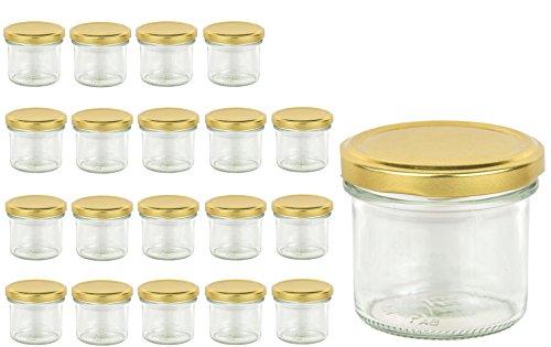 20 Sturzgläser 125 ml Marmeladengläser Einmachgläser Einweckgläser To 66 Gold