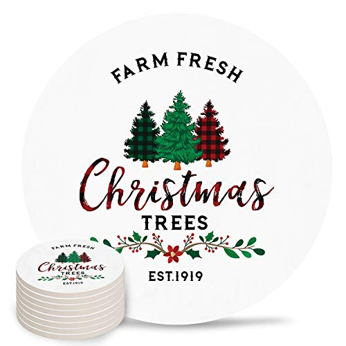 8-Piece Set Ceramic Coasters for Drinks,Farm Fresh Christmas Tree Unique Absorbent Round Ceramics Cork Backed Cup Mat for Home/Housewarming Gift