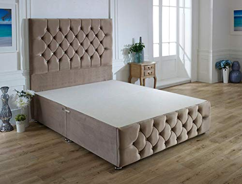 ComfoRest, Bedding & Upholstery Innovation Leader Comfort24 Mink Plush Velvet Ibex Plus Divan Base With 54' Ibex Headboard And NO Drawers (3FT - Single)