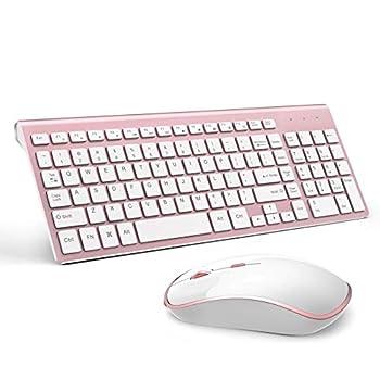 Wireless Keyboard Mouse J JOYACCESS 2.4G Compact and Full Size Wireless Keyboard and Mouse Combo for PC Laptop,Tablet,Computer Windows-Rose Gold