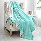 """Walensee Sherpa Fleece Blanket (Twin Size 60""""x80"""" Light Blue) Plush Throw Fuzzy Super Soft Reversible Microfiber Flannel Blankets for Couch, Bed, Sofa Ultra Luxurious Warm and Cozy for All Seasons"""
