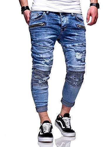 MT Styles Herren Biker Jeans Hose RJ-5067 [Hellblau, W33/L32]