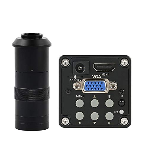 LIMEI-ZEN Microscope 14MP 1080P Digital Video HDMI VGA Microscope Camera + 100X/180X/300X C Mount Lens for PCB Soldering Repair (Color : with 100X Lens)