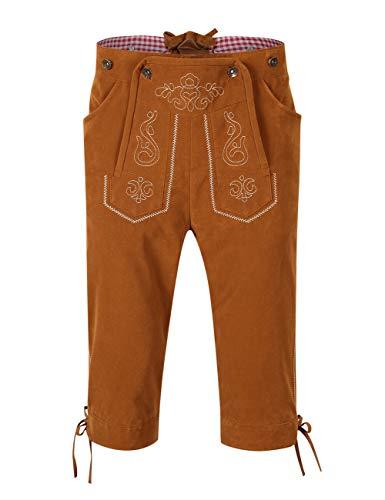 KOJOOIN Trachten Set Herren Lederhose Trachten Weste Trachtenlederhose Kniebundhose mit Trägern für Bayerisch, Oktoberfest, Hochzeit (Verpackung MEHRWEG)