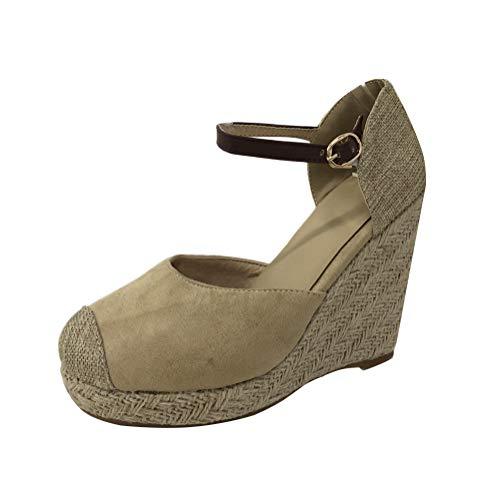 Minetom Damen Sommer Espadrille Wedge Sandalen Mode Schnalle Wildleder Plateau Schuhe C Beige EU 43