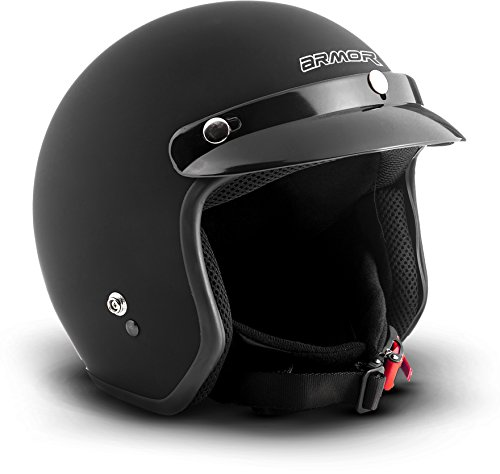 "ARMOR Helmets® AV-47 ""Black Matt"" · Jet-Helm · Motorrad-Helm Roller-Helm Scooter-Helm Moped Mofa-Helm Chopper Retro Vespa Vintage Pilot Biker Damen · DOT Schnellverschluss Tasche S (55-56cm)"