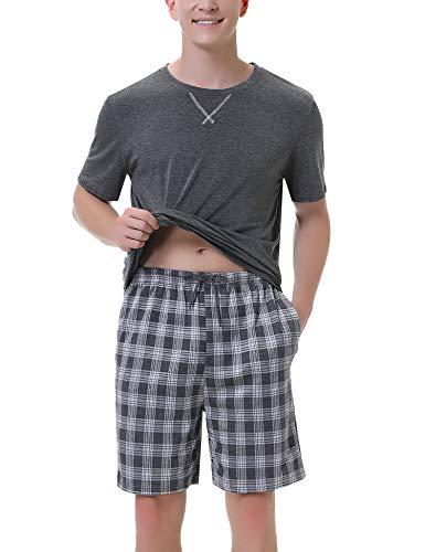 Ireval Pijama Hombre Verano Cortos de Algodón,Cómodo Manga Corta Camiseta y Enrejado Pantalón Ropa de Dormir 2 Piezas (Gris(834), M)