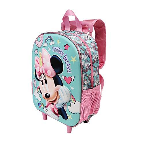 Karactermania Minnie Mouse Unicornio - Mochila 3D con Ruedas (Pequeña), Multicolor