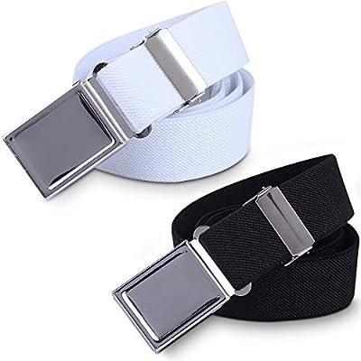 Kids Toddler Elastic Magnetic Belt - Adjustable Magnetic Buckle Stretch Belts for Boys Girls by WELROG ?White/Black?