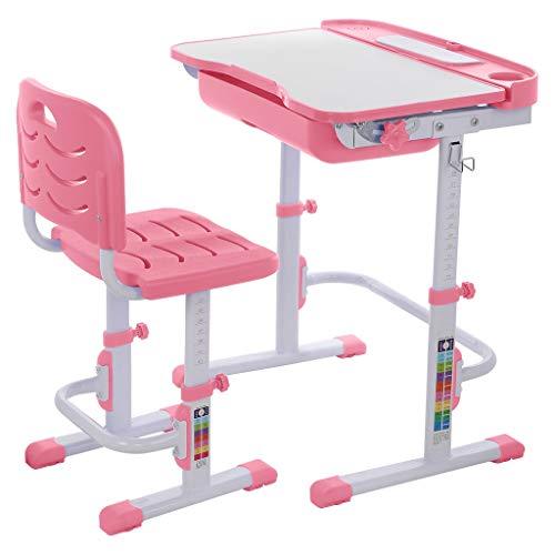 Children Desk and Chair Set, Children Study Table Height Adjustable Kids Desk Ergonomic Design School Students Writing Desk Tilt Desktop Storage Drawer Bookstand for Boys & Girls,Pink