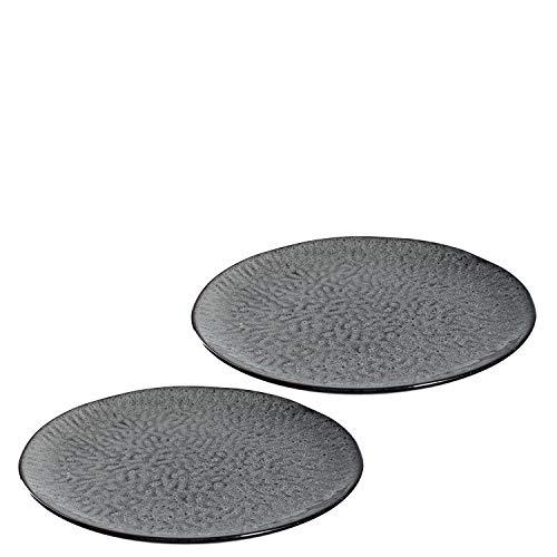 Leonardo Matera Keramik-Teller 2-er Set, spülmaschinengeeignete Speise-Teller, Essteller mit Glasur, 2 runde Steingut-Teller, Ø 27 cm grau, 027001