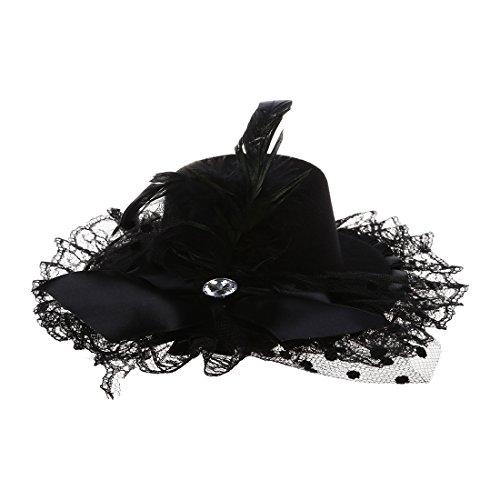 SNOWINSPRING Noir chapeau plume clip de cheveux avec noeud a deux boucles