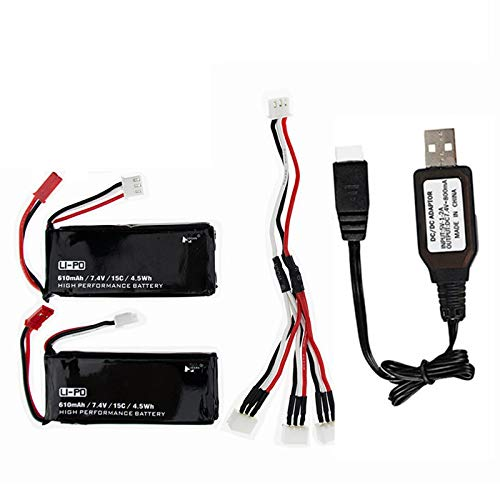 7.4V 610mAh Lipo Battery for Hubsan H502S H502E X4 Desire RC Quadcopter Drone Spare Part H502S Battery 2 Pack with USB Charging Cable